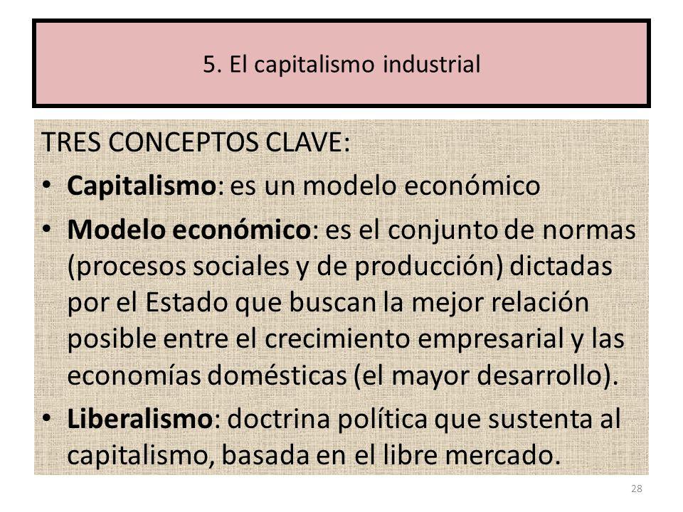 TRES CONCEPTOS CLAVE: Capitalismo: es un modelo económico Modelo económico: es el conjunto de normas (procesos sociales y de producción) dictadas por