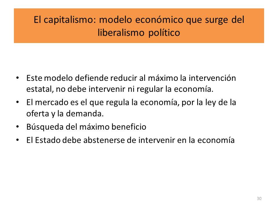 El capitalismo: modelo económico que surge del liberalismo político Este modelo defiende reducir al máximo la intervención estatal, no debe intervenir
