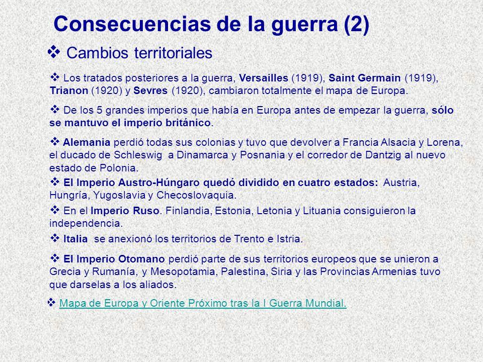 Cambios territoriales Los tratados posteriores a la guerra, Versailles (1919), Saint Germain (1919), Trianon (1920) y Sevres (1920), cambiaron totalme