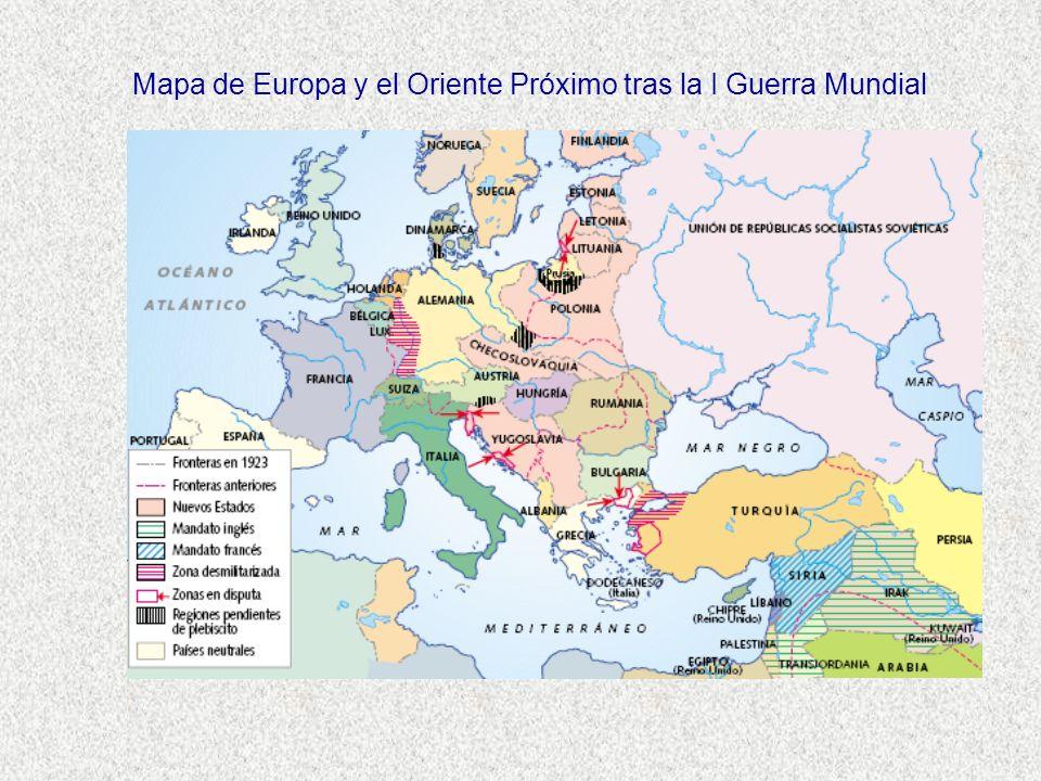 Mapa de Europa y el Oriente Próximo tras la I Guerra Mundial