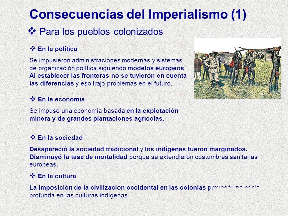 Consecuencias del Imperialismo (1) Para los pueblos colonizados En la política Se impusieron administraciones modernas y sistemas de organización polí