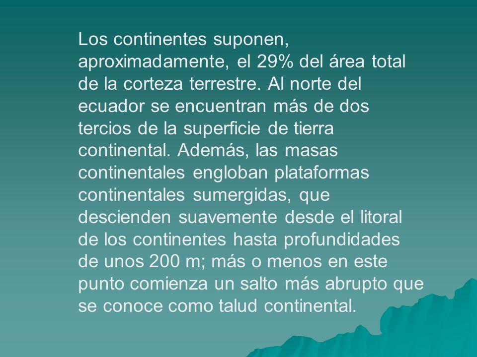 Los continentes suponen, aproximadamente, el 29% del área total de la corteza terrestre. Al norte del ecuador se encuentran más de dos tercios de la s