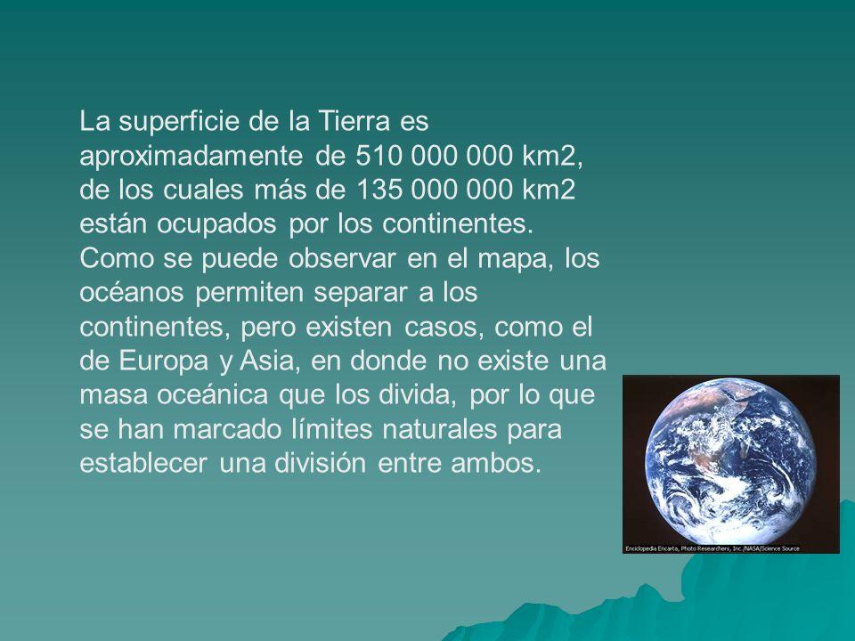 La superficie de la Tierra es aproximadamente de 510 000 000 km2, de los cuales más de 135 000 000 km2 están ocupados por los continentes. Como se pue