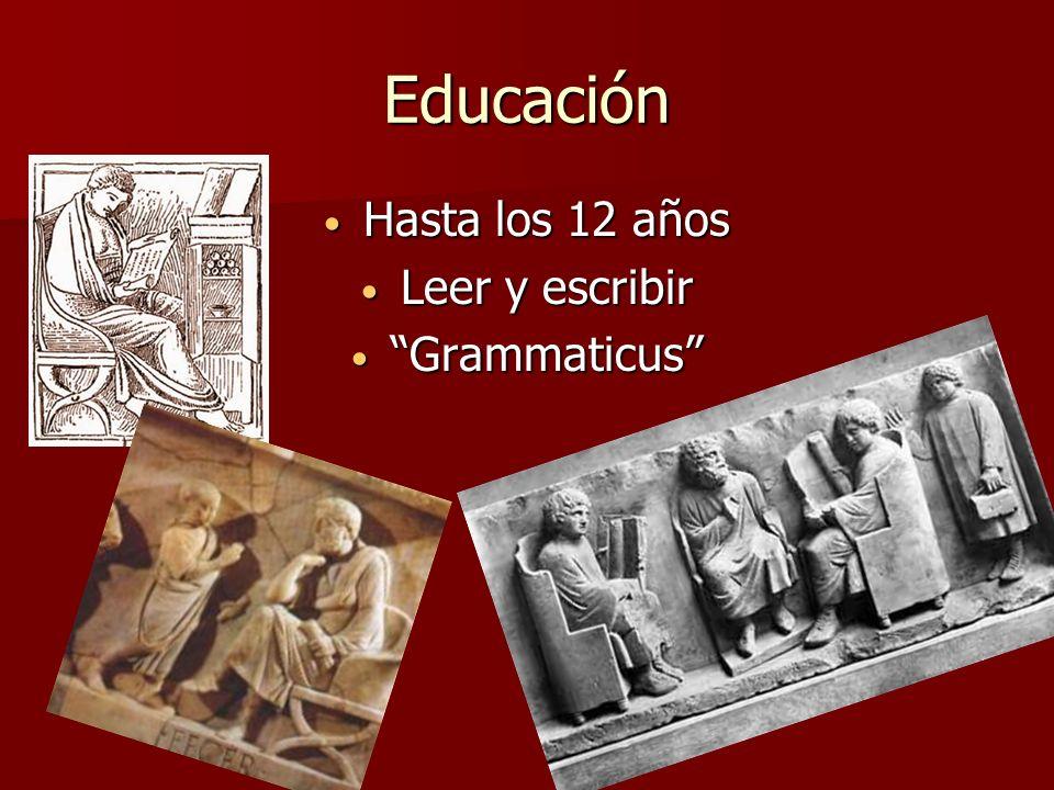 Educación Hasta los 12 años Hasta los 12 años Leer y escribir Leer y escribir Grammaticus Grammaticus