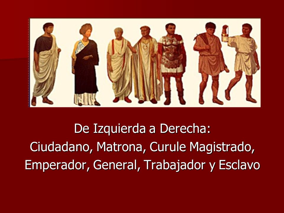 De Izquierda a Derecha: Ciudadano, Matrona, Curule Magistrado, Emperador, General, Trabajador y Esclavo