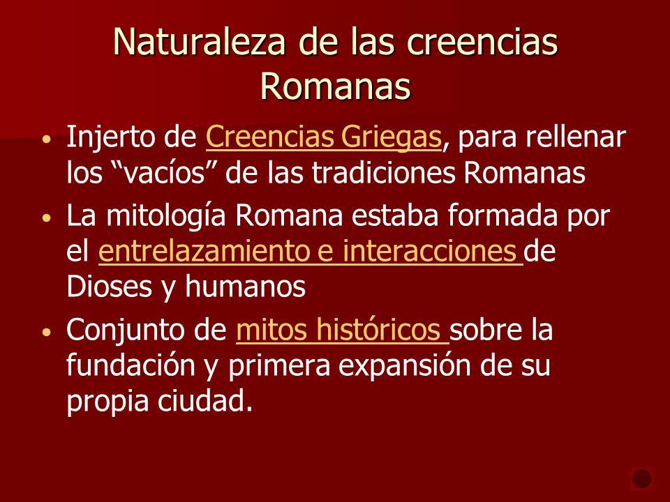 Naturaleza de las creencias Romanas Injerto de Creencias Griegas, para rellenar los vacíos de las tradiciones RomanasCreencias Griegas La mitología Ro