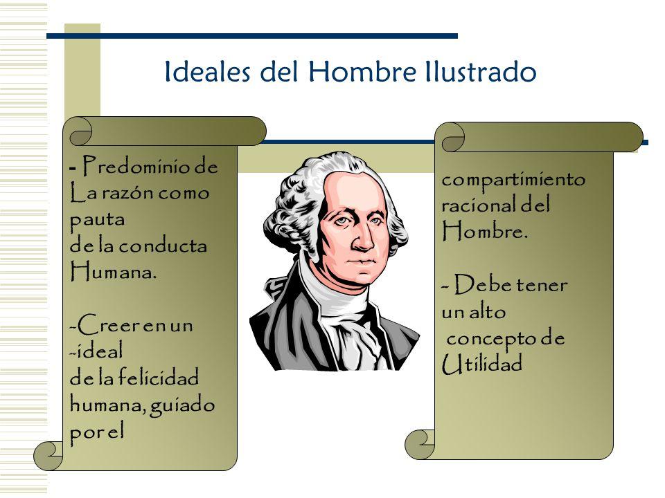 Ideales del Hombre Ilustrado - Predominio de La razón como pauta de la conducta Humana. -Creer en un -ideal de la felicidad humana, guiado por el comp