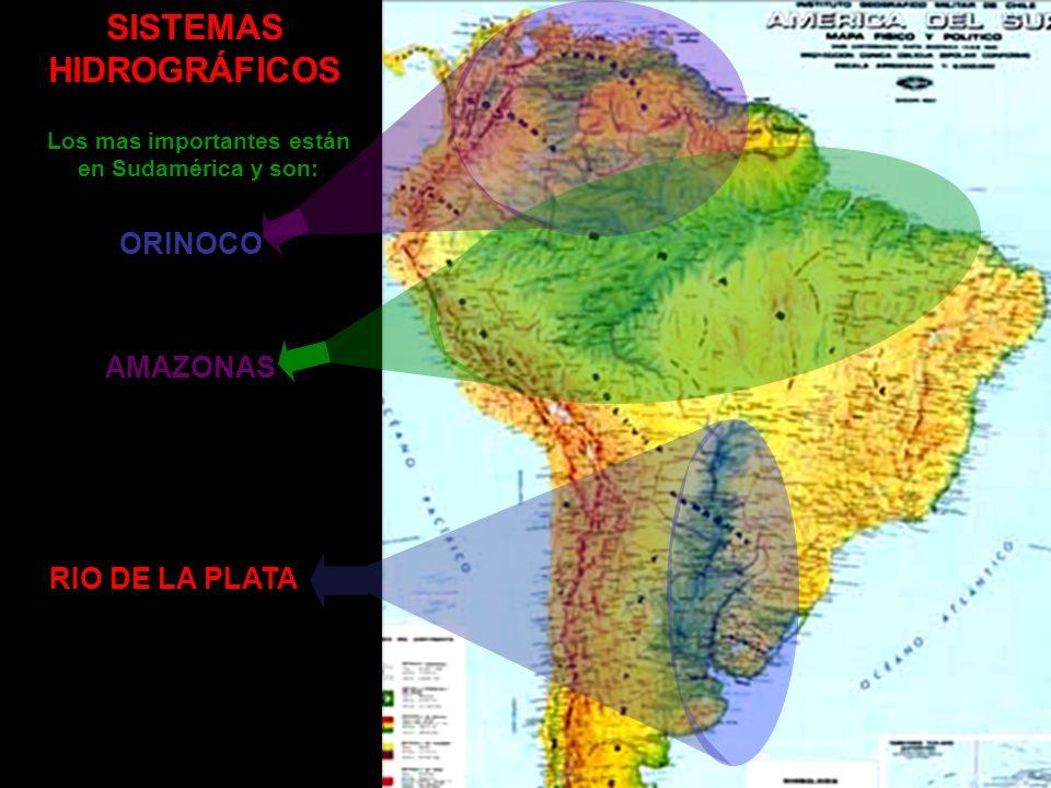SISTEMAS HIDROGRÁFICOS Los mas importantes están en Sudamérica y son: ORINOCO AMAZONAS RIO DE LA PLATA