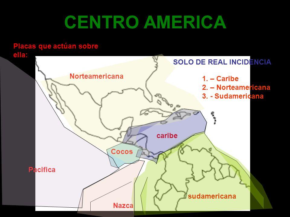 CENTRO AMERICA Placas que actúan sobre ella: Norteamericana Cocos Pacifica Nazca sudamericana caribe SOLO DE REAL INCIDENCIA 1. – Caribe 2. – Norteame