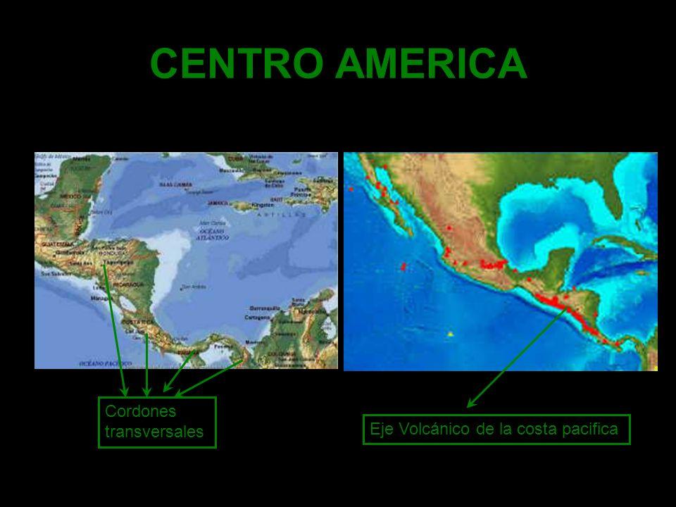 CENTRO AMERICA Cordones transversales Eje Volcánico de la costa pacifica