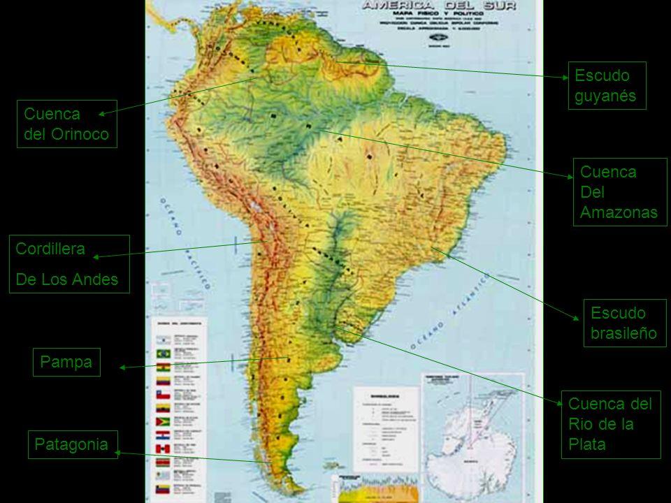 Cordillera De Los Andes Escudo brasileño Escudo guyanés Cuenca del Orinoco Cuenca Del Amazonas Cuenca del Rio de la Plata Pampa Patagonia