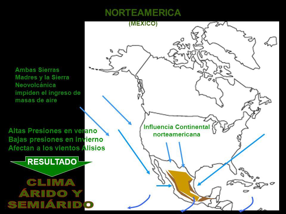 NORTEAMERICA (MÉXICO) Influencia Continental norteamericana Altas Presiones en verano Bajas presiones en invierno Afectan a los vientos Alisios Ambas