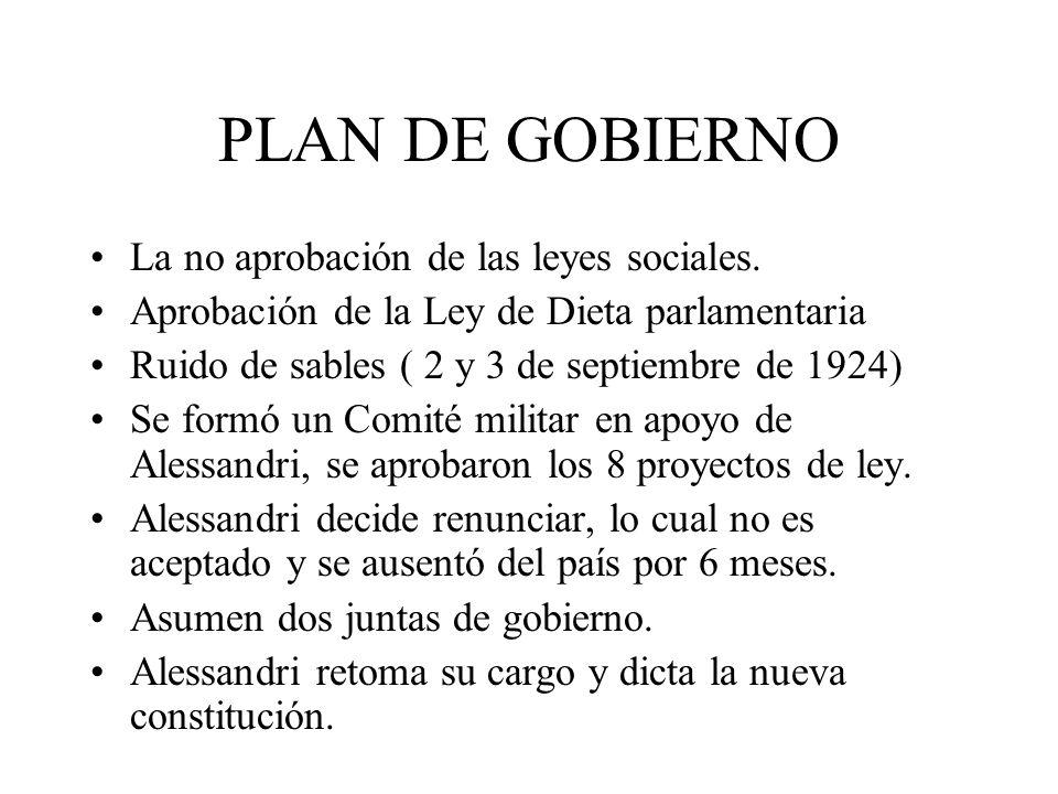PLAN DE GOBIERNO La no aprobación de las leyes sociales. Aprobación de la Ley de Dieta parlamentaria Ruido de sables ( 2 y 3 de septiembre de 1924) Se
