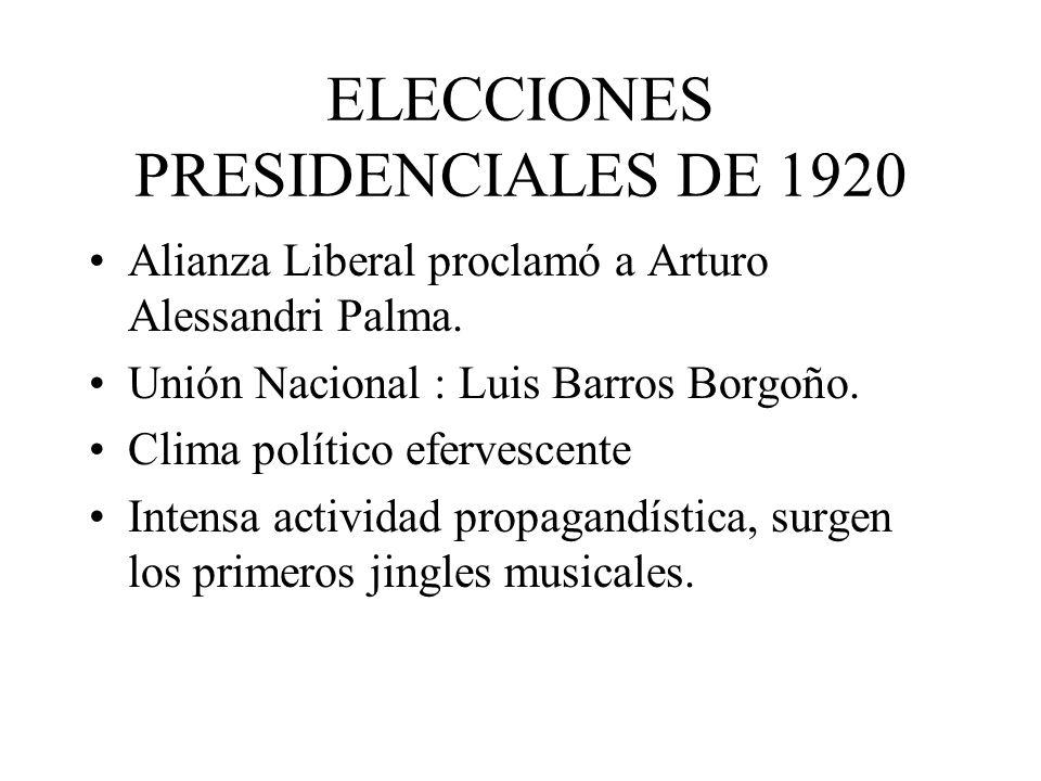 ELECCIONES PRESIDENCIALES DE 1920 Alianza Liberal proclamó a Arturo Alessandri Palma. Unión Nacional : Luis Barros Borgoño. Clima político efervescent