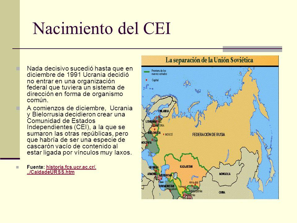 Nacimiento del CEI Nada decisivo sucedió hasta que en diciembre de 1991 Ucrania decidió no entrar en una organización federal que tuviera un sistema d