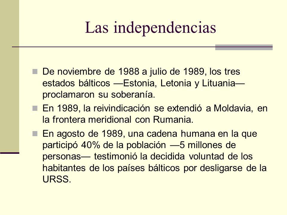 Las independencias De noviembre de 1988 a julio de 1989, los tres estados bálticos Estonia, Letonia y Lituania proclamaron su soberanía. En 1989, la r