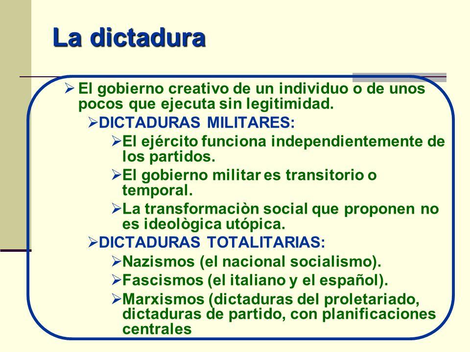 La dictadura El gobierno creativo de un individuo o de unos pocos que ejecuta sin legitimidad. DICTADURAS MILITARES: El ejército funciona independient