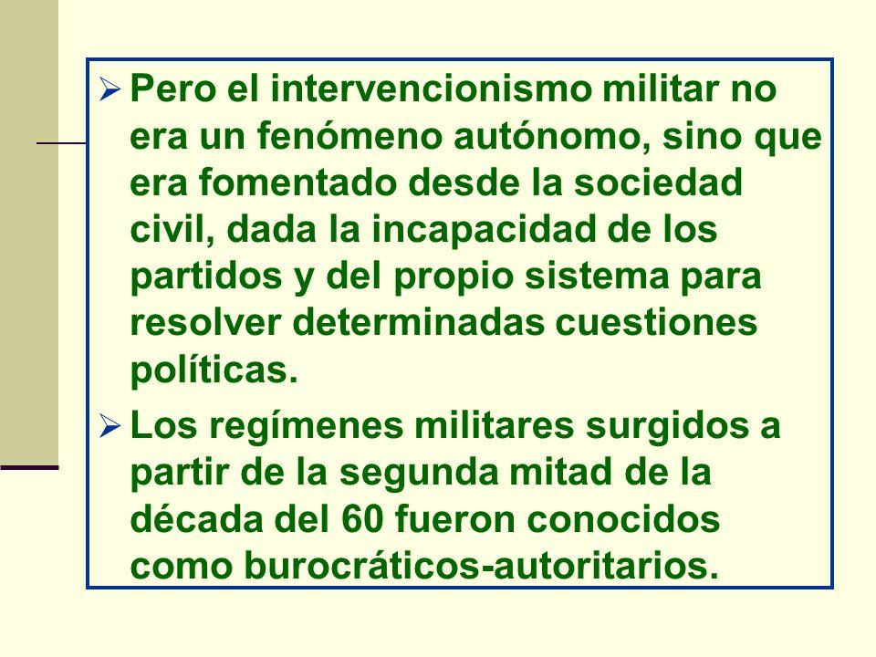 Pero el intervencionismo militar no era un fenómeno autónomo, sino que era fomentado desde la sociedad civil, dada la incapacidad de los partidos y de
