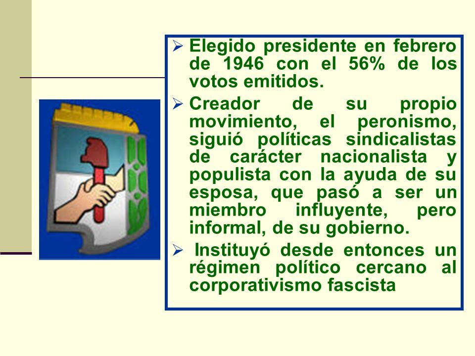 Elegido presidente en febrero de 1946 con el 56% de los votos emitidos. Creador de su propio movimiento, el peronismo, siguió políticas sindicalistas