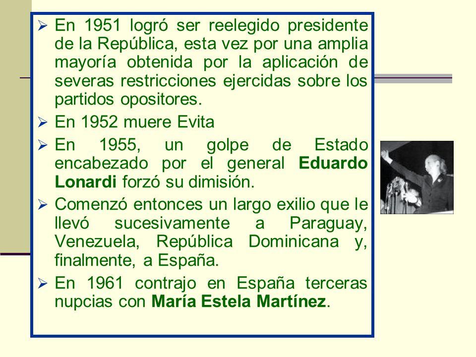 En 1951 logró ser reelegido presidente de la República, esta vez por una amplia mayoría obtenida por la aplicación de severas restricciones ejercidas
