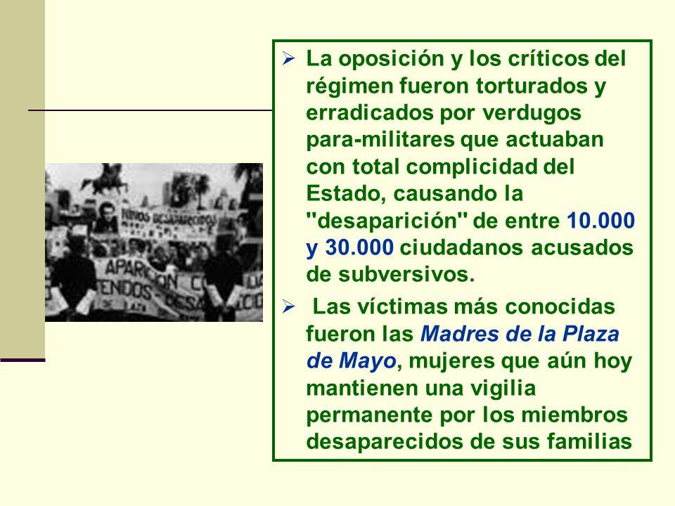 La oposición y los críticos del régimen fueron torturados y erradicados por verdugos para-militares que actuaban con total complicidad del Estado, cau