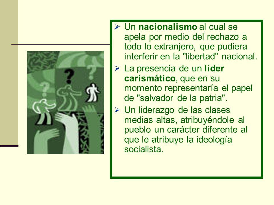 Un nacionalismo al cual se apela por medio del rechazo a todo lo extranjero, que pudiera interferir en la