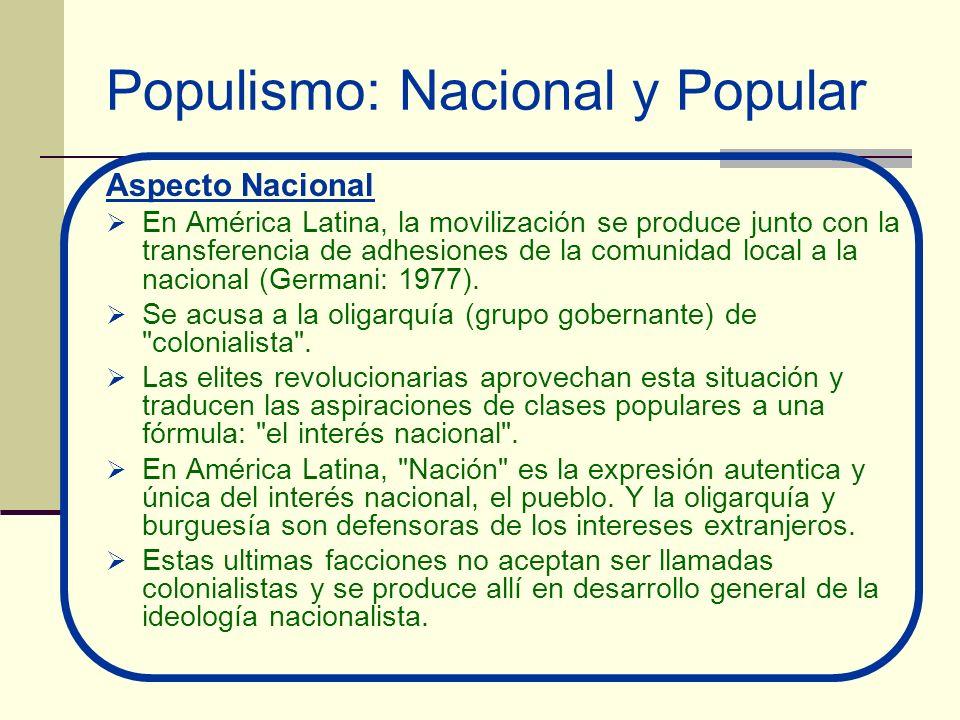 Populismo: Nacional y Popular Aspecto Nacional En América Latina, la movilización se produce junto con la transferencia de adhesiones de la comunidad