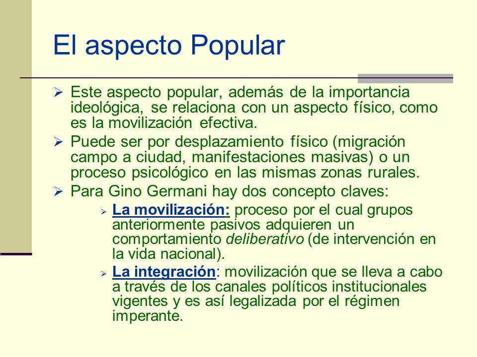 El aspecto Popular Este aspecto popular, además de la importancia ideológica, se relaciona con un aspecto físico, como es la movilización efectiva. Pu