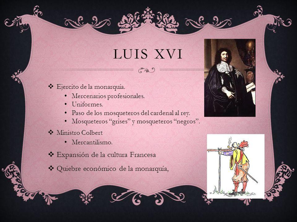 LUIS XVI Ejercito de la monarquía. Mercenarios profesionales. Uniformes. Paso de los mosqueteros del cardenal al rey. Mosqueteros grises y mosqueteros