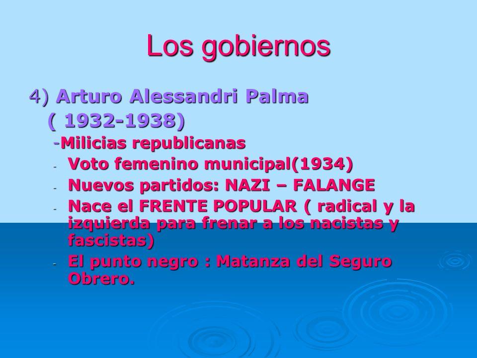 Los gobiernos 4) Arturo Alessandri Palma ( 1932-1938) -Milicias republicanas - Voto femenino municipal(1934) - Nuevos partidos: NAZI – FALANGE - Nace