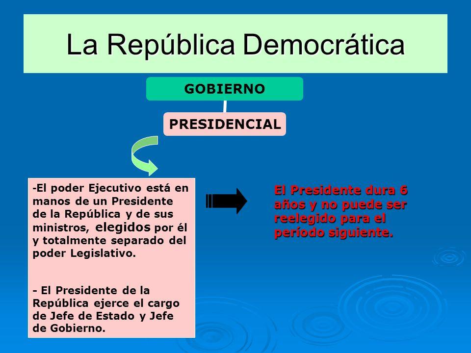 La República Democrática GOBIERNO PRESIDENCIAL - El poder Ejecutivo está en manos de un Presidente de la República y de sus ministros, elegidos por él