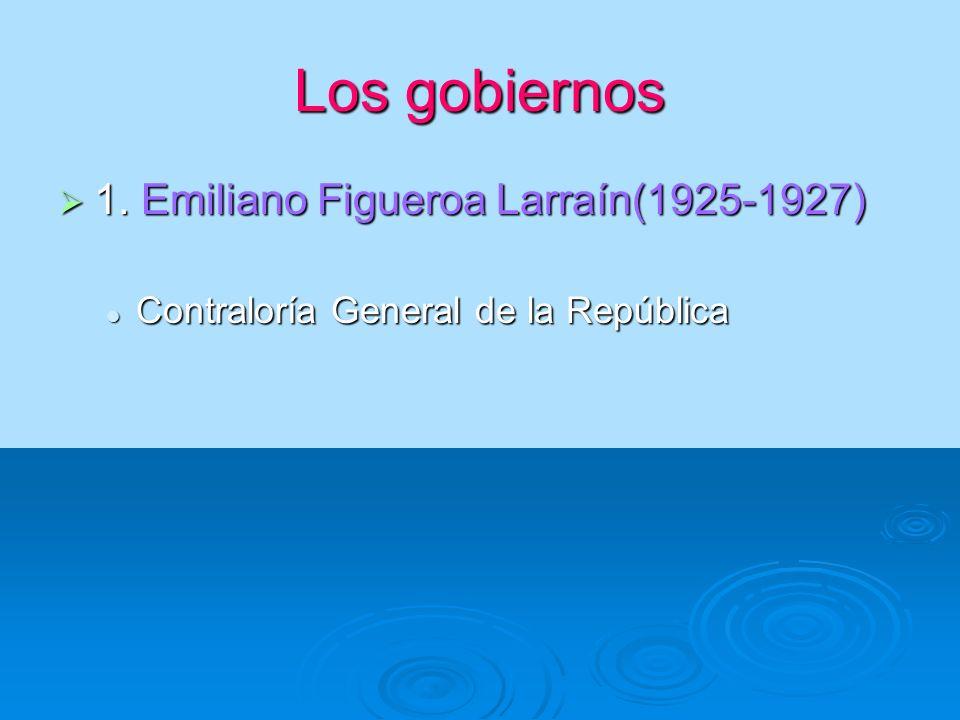 Los gobiernos 1. Emiliano Figueroa Larraín(1925-1927) 1. Emiliano Figueroa Larraín(1925-1927) Contraloría General de la República Contraloría General