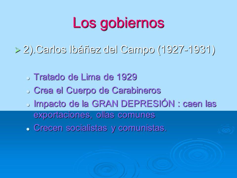 Los gobiernos 2).Carlos Ibáñez del Campo (1927-1931) 2).Carlos Ibáñez del Campo (1927-1931) Tratado de Lima de 1929 Tratado de Lima de 1929 Crea el Cu