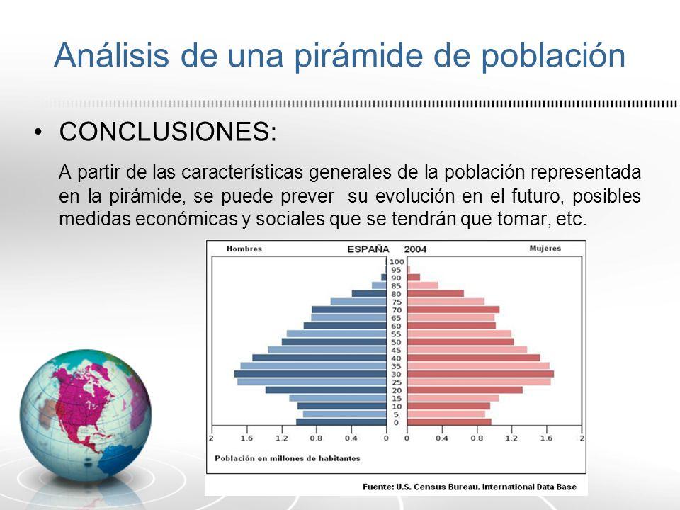 Análisis de una pirámide de población CONCLUSIONES: A partir de las características generales de la población representada en la pirámide, se puede pr