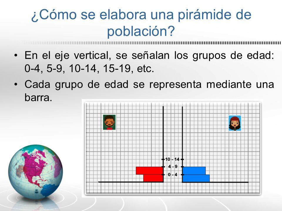 ¿Cómo se elabora una pirámide de población? En el eje vertical, se señalan los grupos de edad: 0-4, 5-9, 10-14, 15-19, etc. Cada grupo de edad se repr