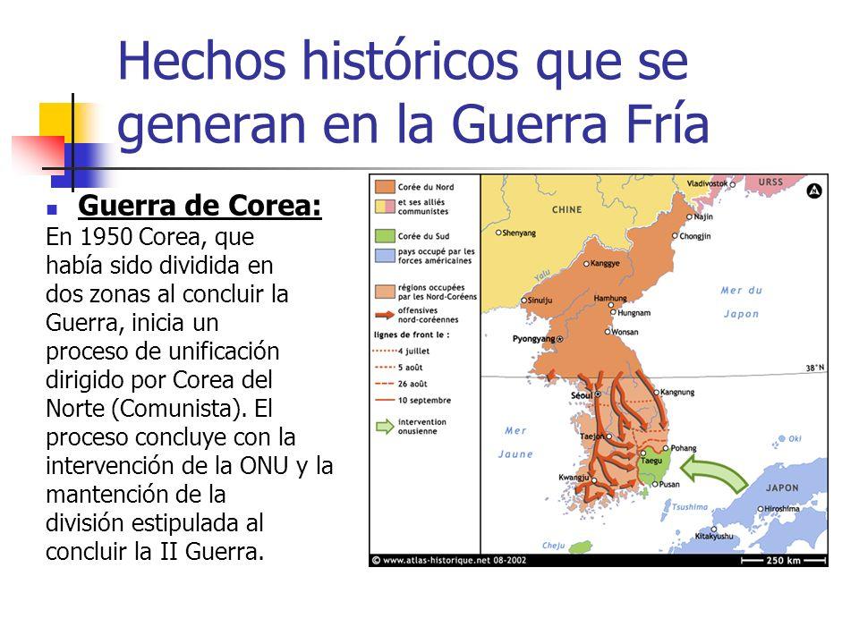 Hechos históricos que se generan en la Guerra Fría Guerra de Corea: En 1950 Corea, que había sido dividida en dos zonas al concluir la Guerra, inicia