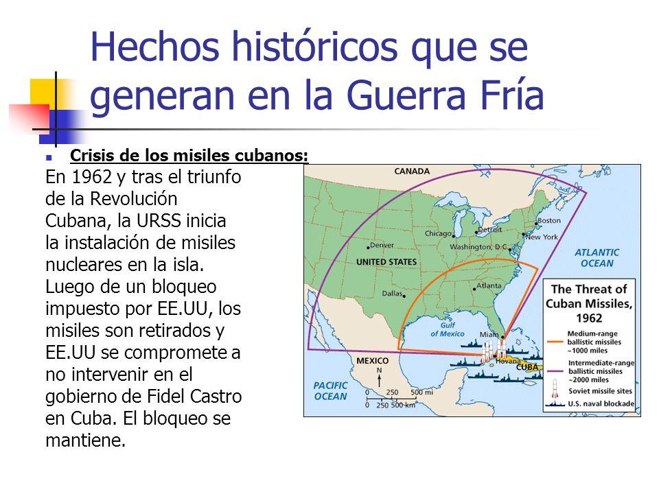 Hechos históricos que se generan en la Guerra Fría Crisis de los misiles cubanos: En 1962 y tras el triunfo de la Revolución Cubana, la URSS inicia la