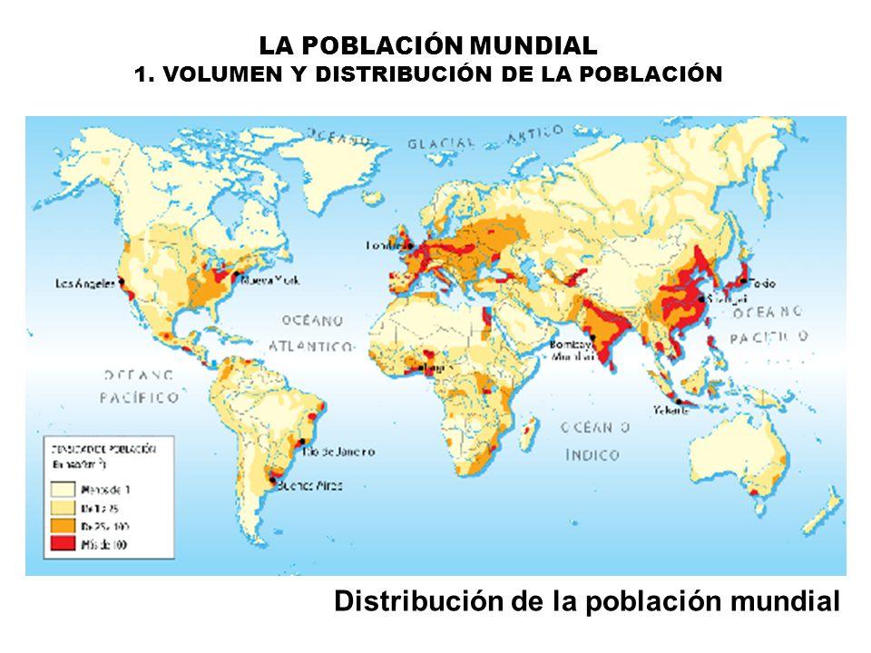 Distribución de la población mundial LA POBLACIÓN MUNDIAL 1. VOLUMEN Y DISTRIBUCIÓN DE LA POBLACIÓN