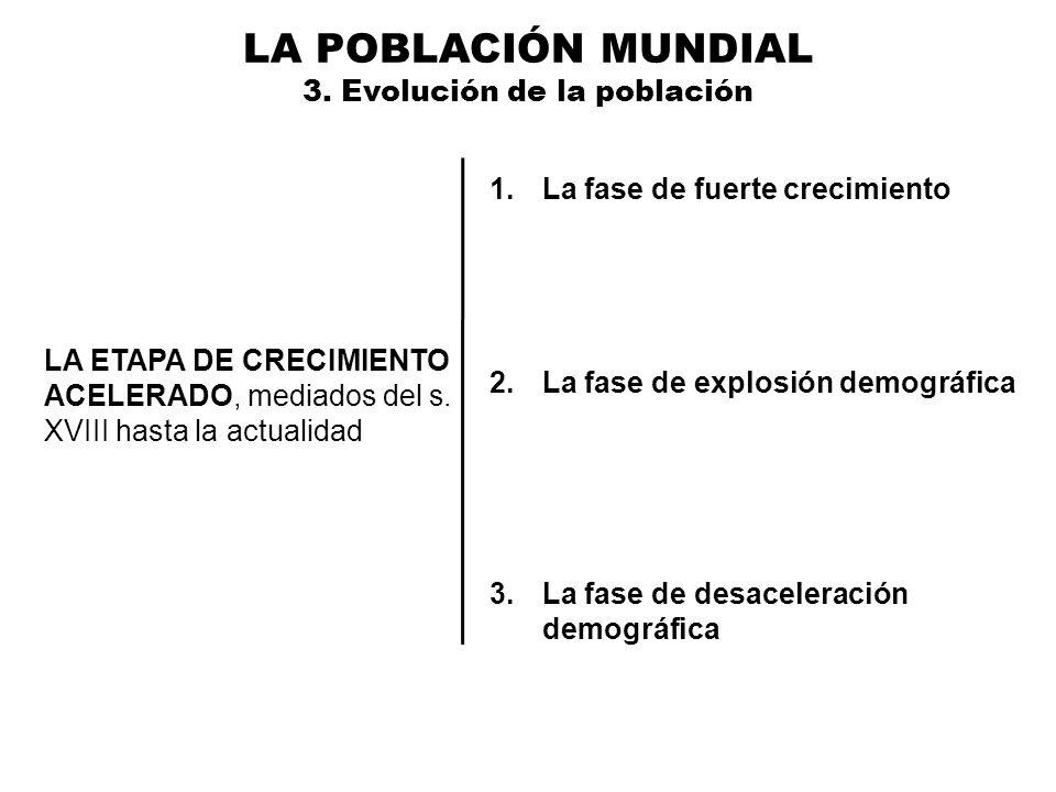 LA POBLACIÓN MUNDIAL 3. Evolución de la población LA ETAPA DE CRECIMIENTO ACELERADO, mediados del s. XVIII hasta la actualidad 1.La fase de fuerte cre