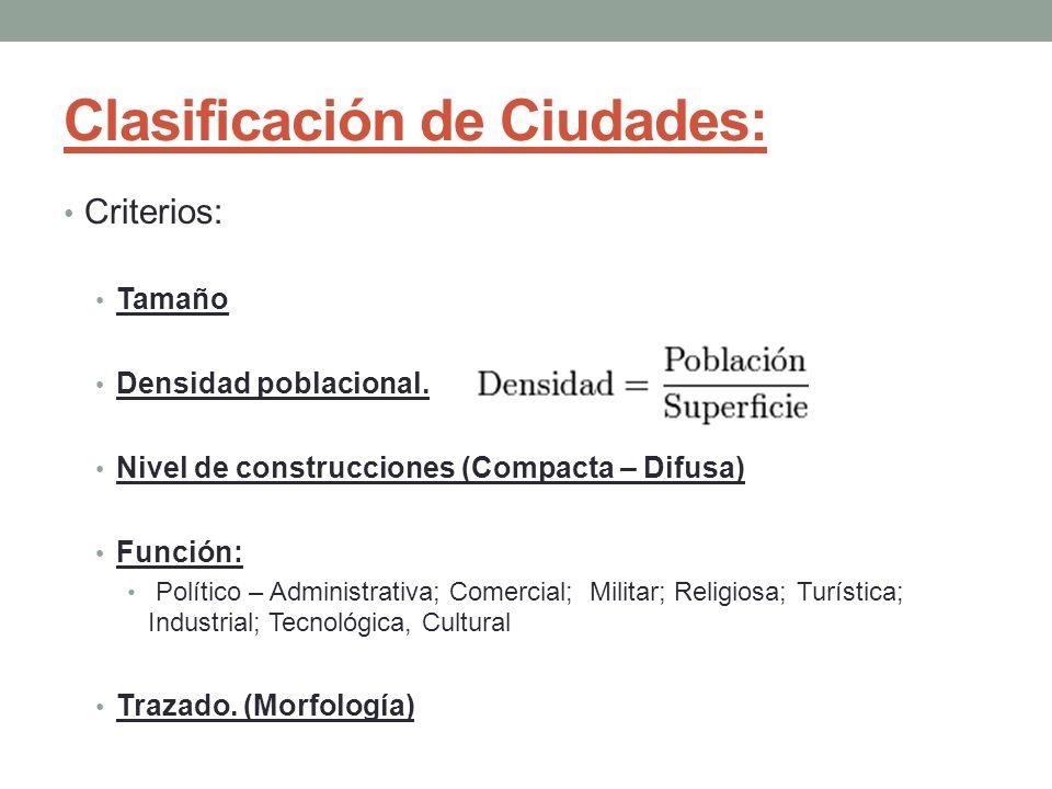 Clasificación de Ciudades: Criterios: Tamaño Densidad poblacional. Nivel de construcciones (Compacta – Difusa) Función: Político – Administrativa; Com