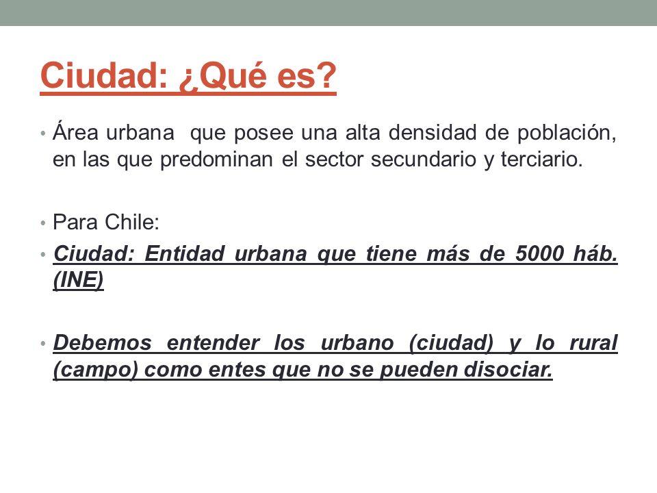 Ciudad: ¿Qué es? Área urbana que posee una alta densidad de población, en las que predominan el sector secundario y terciario. Para Chile: Ciudad: Ent