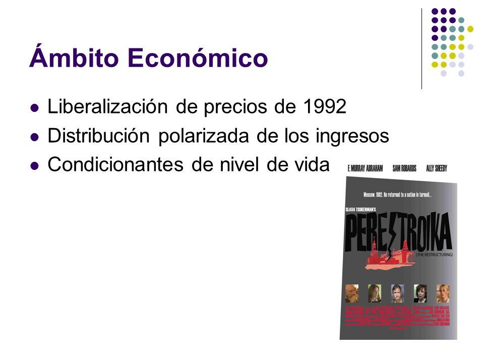 Ámbito Económico Liberalización de precios de 1992 Distribución polarizada de los ingresos Condicionantes de nivel de vida
