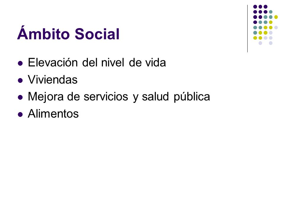 Ámbito Social Elevación del nivel de vida Viviendas Mejora de servicios y salud pública Alimentos