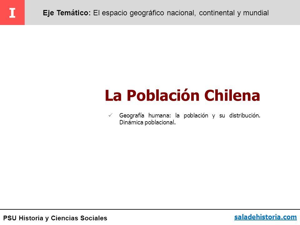 PSU Historia y Ciencias Sociales La Población Chilena I Eje Temático: El espacio geográfico nacional, continental y mundial saladehistoria.com Geograf
