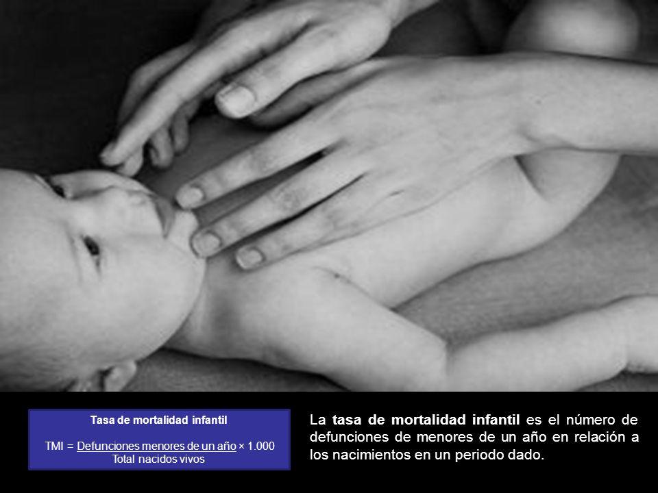 La tasa de mortalidad infantil es el número de defunciones de menores de un año en relación a los nacimientos en un periodo dado. Tasa de mortalidad i
