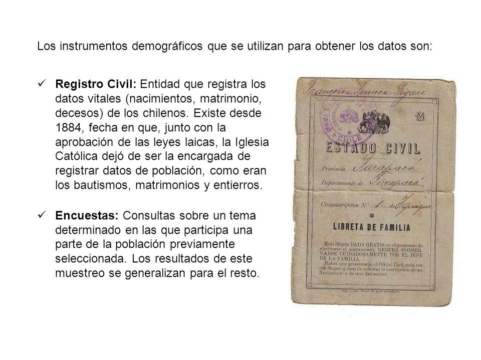 Los instrumentos demográficos que se utilizan para obtener los datos son: Registro Civil: Entidad que registra los datos vitales (nacimientos, matrimo