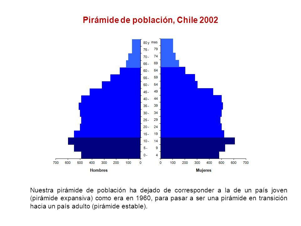 Pirámide de población, Chile 2002 Nuestra pirámide de población ha dejado de corresponder a la de un país joven (pirámide expansiva) como era en 1960,