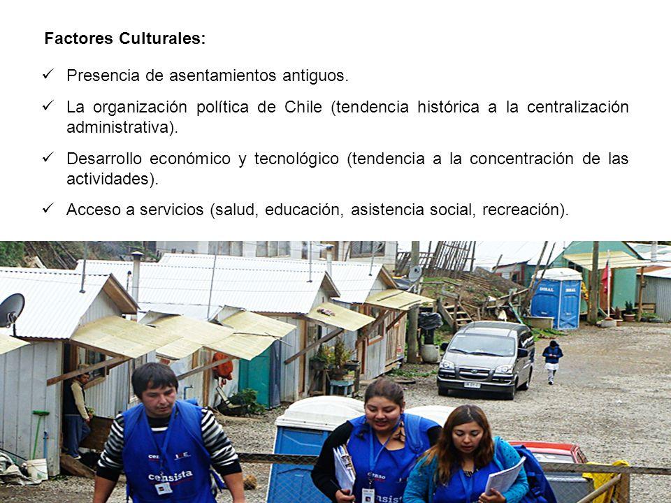 Presencia de asentamientos antiguos. La organización política de Chile (tendencia histórica a la centralización administrativa). Desarrollo económico