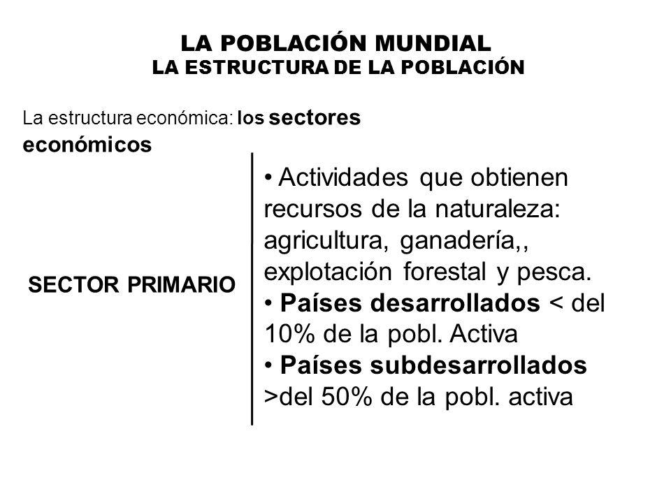 LA POBLACIÓN MUNDIAL LA ESTRUCTURA DE LA POBLACIÓN La estructura económica: los sectores económicos SECTOR PRIMARIO Actividades que obtienen recursos