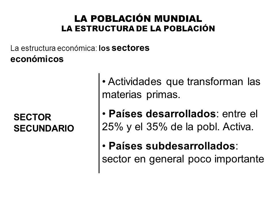 LA POBLACIÓN MUNDIAL LA ESTRUCTURA DE LA POBLACIÓN La estructura económica: los sectores económicos SECTOR SECUNDARIO Actividades que transforman las